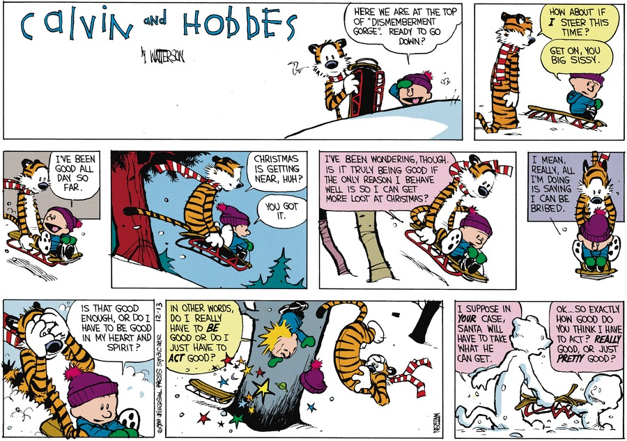 "calvin: here we are at the top of ""dismemberment gorge."" ready to go down? hobbes: how about i steer this time? calvin: get on, you big sissy. i've been good all day so far. hobbes: christmas is getting near, huh? calvin: you got it. i've been wondering, though. is it truly being good if the only reason i behave well is so i can get more loot at christmas? i mean, really, all i'm doing is saying i can be bribed. is that good enough, or do i have to be good in my heart and spirit? in other words, do i really have to be good or do i just have to act good? hobbes: i suppose in your case, santa will have to take what he can get. calvin: ok...so exactly how good do you think i have to act? really good, or just pretty good?"