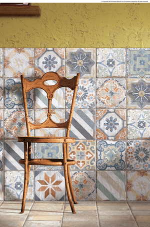 With Cuba's emergence as a travel destination, the romance of the old country is capturing attention. Here, a patchwork of tiles from the Havana collection is created in glazed porcelain by the Cir brand from Gruppo Romani, with inspiration s from the turn of the century.