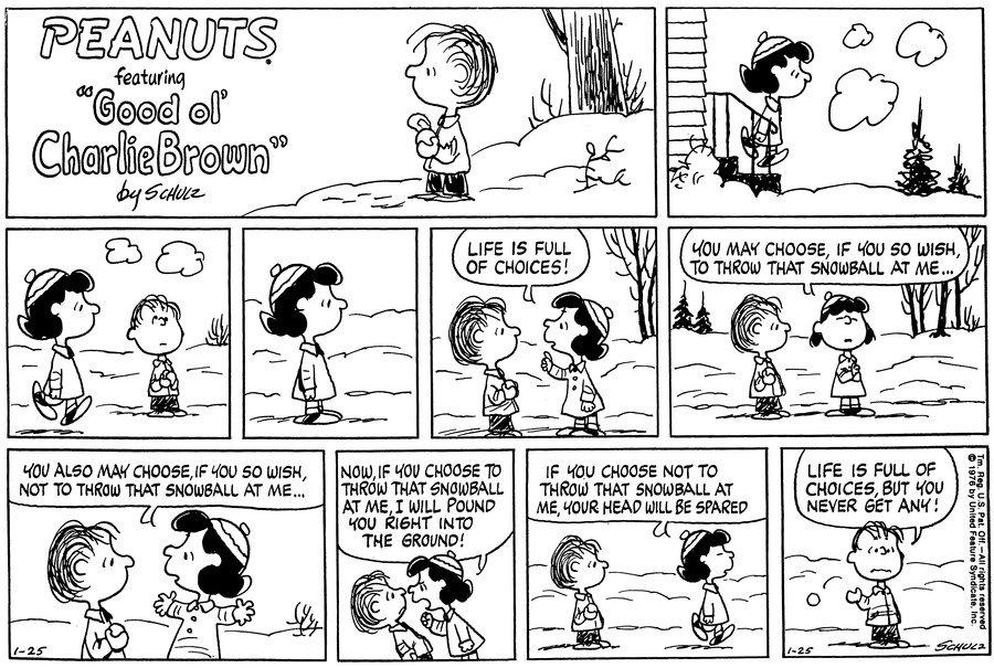 "Linus stands on the field holding a snowball.  Lucy walks out of the house.<BR><BR> She walks pass Linus, who looks innocently up in the sky.  She stops and thinks,""<BR><BR> She walks back to him and exclaims,""Life is full of choices!""  She says,""You may choose, if you so wish, to throw that snowball at me...""<BR><BR> She spreads her hands and continues,""You also may choose, if you so wish, not to throw that snowball at me...""<BR><BR> She leans forward at him and shouts,""Now, if you choose to throw that snowball at me, I will pound you right into the ground!""<BR><BR> She walks off concluding,""If you choose not to throw that snowball at me, your head will be spared.""<BR><BR> Linus tosses the snowball and says,""Life is full of choices, but you never get any!""<BR><BR>"
