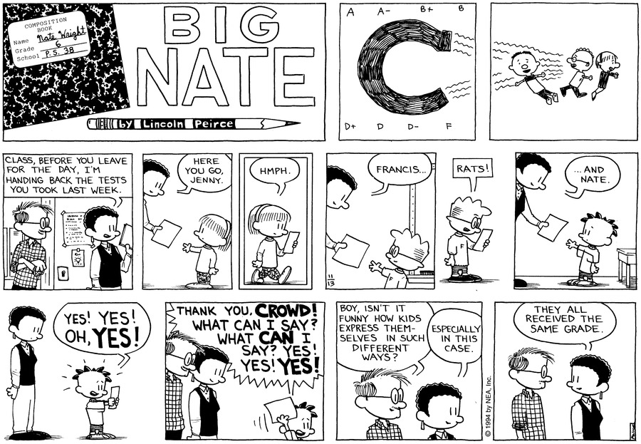 Big Nate Comic Strip for November 13, 1994
