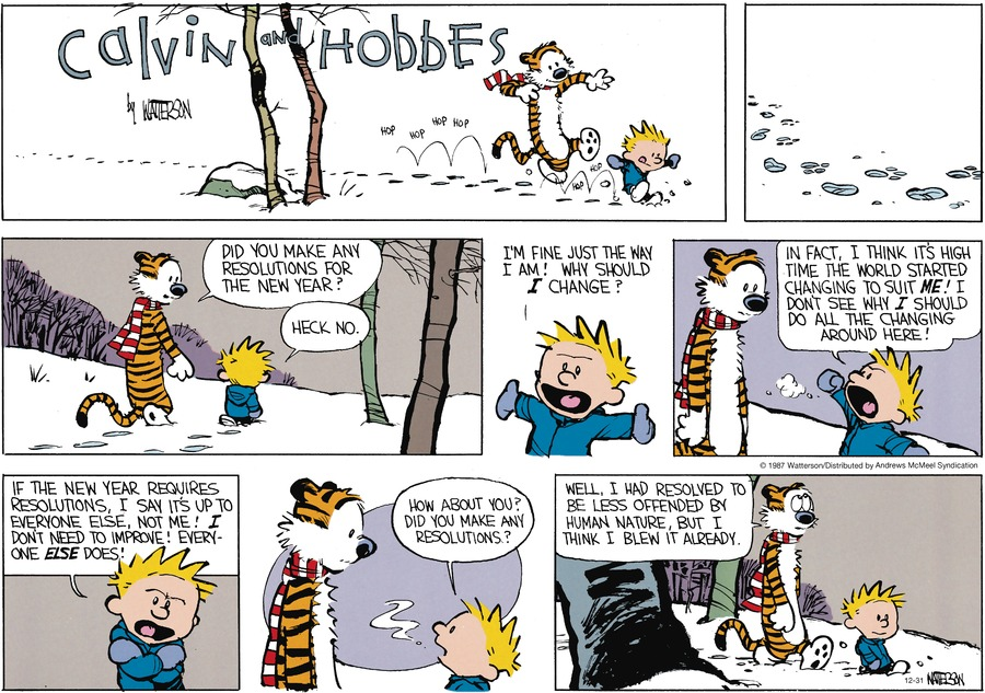 Calvin and Hobbes for Dec 31, 2017 Comic Strip