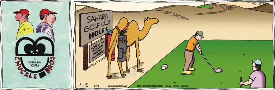 """""""Sahara golf club hole 1""""  """"Home of the worlds biggest sand trap"""""""