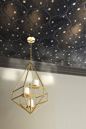 "Pattern can add tremendous depth to a room when it's used on the ceiling. Here, the effect is especially out of this world, with mosaic tile from Trove, a new collection designed by Sara Baldwin. The Astronomy pattern portrays stars illuminated against a matte black ""sky,"" in Nero Marquina pitch-black marble, with gleaming brass stars. The tiles are handcrafted by artisans in Virginia."