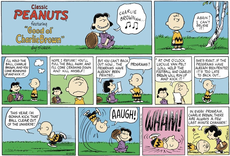 Peanuts Comic Strip for October 15, 2000