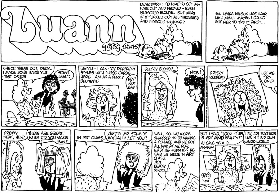 Luann Againn Comic Strip for March 29, 2020