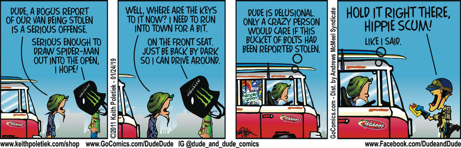 Dude and Dude Comic Strip for January 24, 2019
