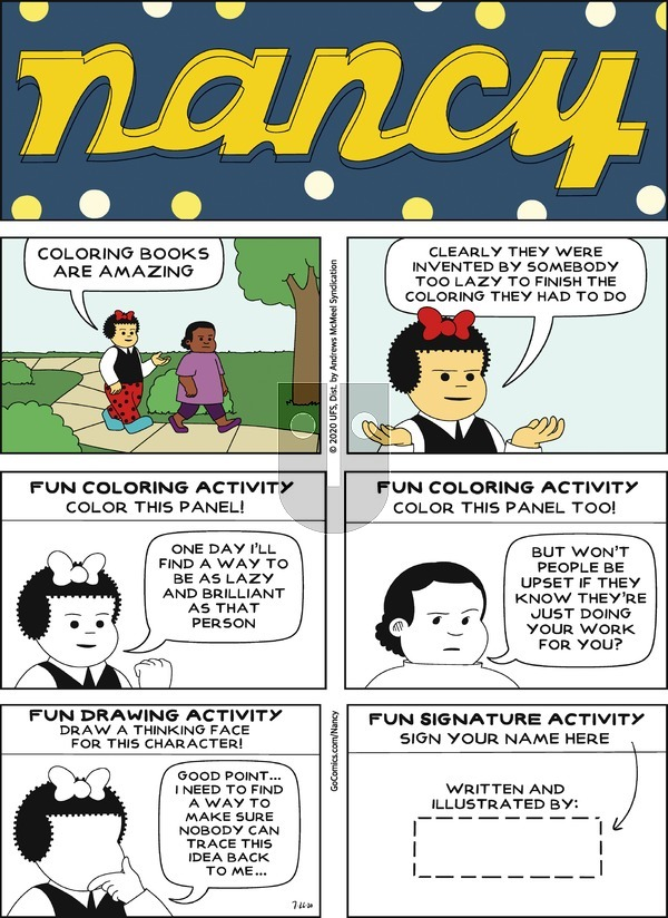 Nancy on Sunday July 26, 2020 Comic Strip