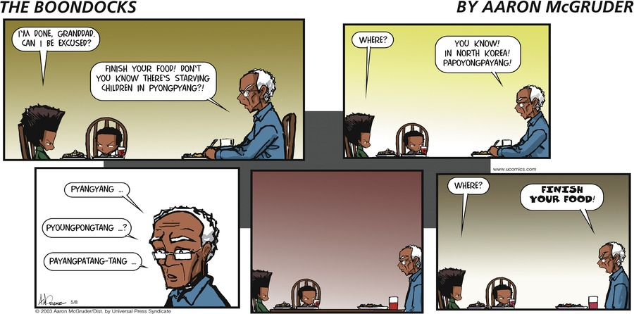 The Boondocks for May 8, 2005 Comic Strip