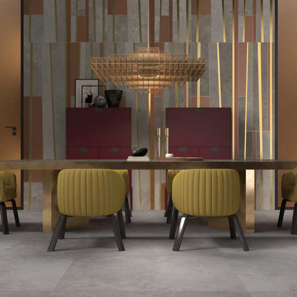 Metallics beautifully accent most styles of furnishings, adding a bit of shimmer and reflectivity. This particular warm brass detail is on porcelain slabs in the Alpes Wide collection from ABK. The pattern of irregular striping in large format combines the decorative quality of various stones from the south of France in a wide range of sizes, including 80 by 160 centimeters and even 160 by 320 centimeters, with thickness between 7 and 9 millimeters. The large-scale geometric design makes quite an impact as a feature wall in a dining area.