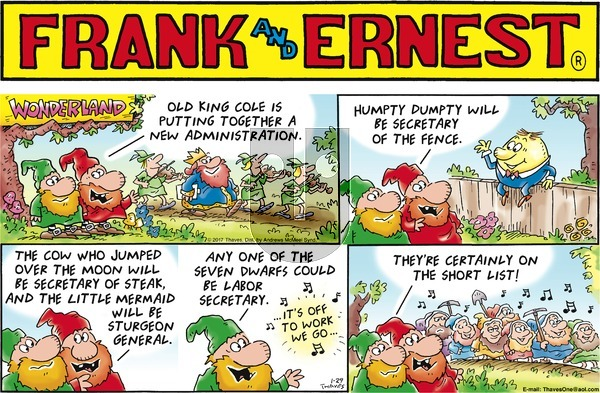 Frank and Ernest on Sunday January 29, 2017 Comic Strip