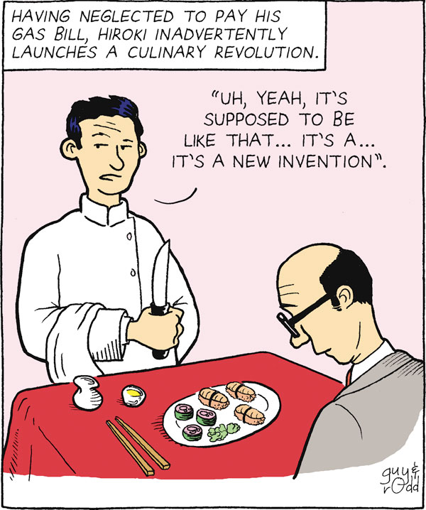 """Having neglected to pay his gas bill, Hiroki inadvertently launches a culinary revolution. """"Uh, yeah, it's supposed to be like that...It's a...It's a new invention."""""""