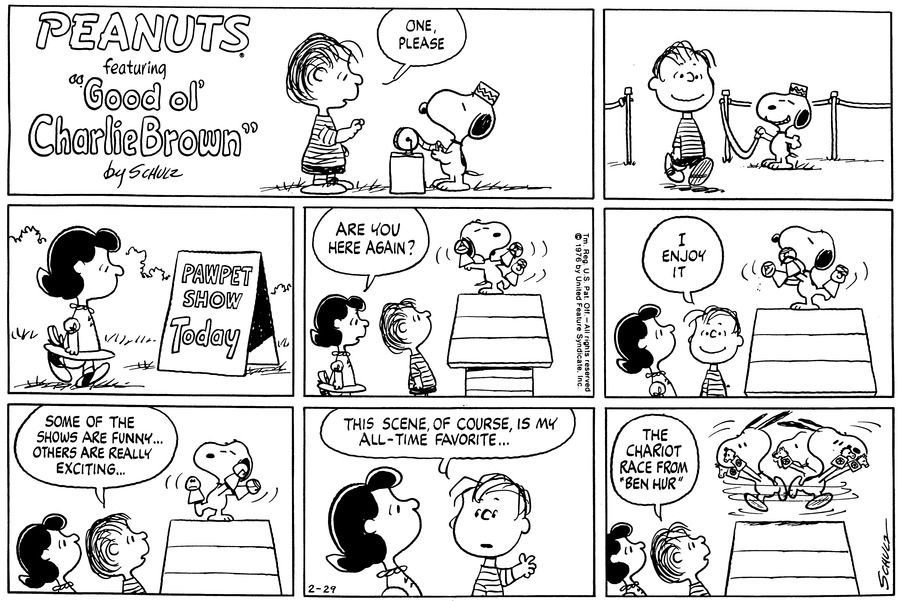Peanuts Comic Strip for February 29, 1976
