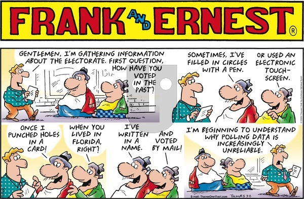 Frank and Ernest on Sunday March 8, 2020 Comic Strip