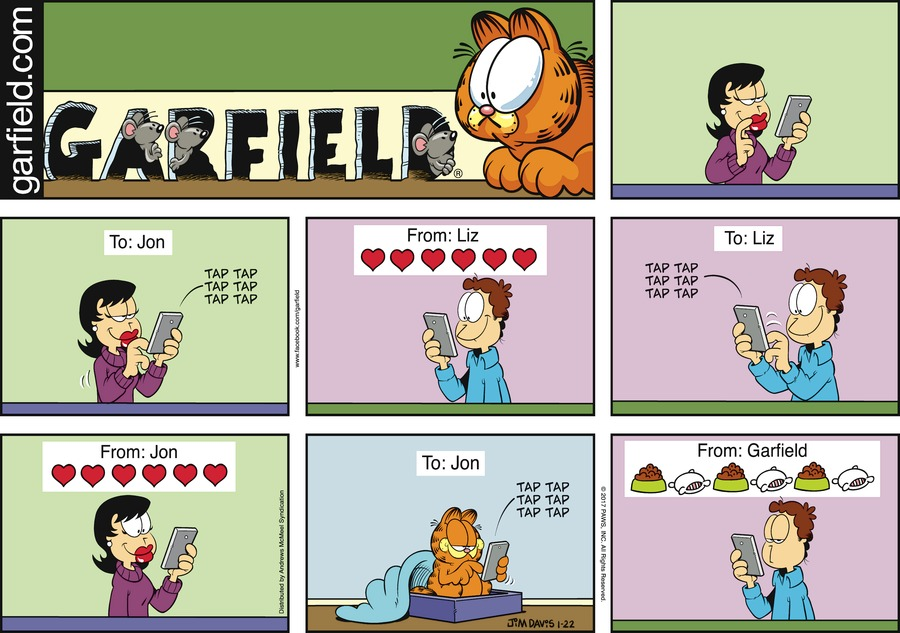 Liz, Jon, and Garfield send each other texts with emojis.