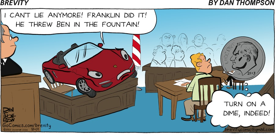 Car:  I can't lie anymore! Franklin did it! he her ben in the fountain!