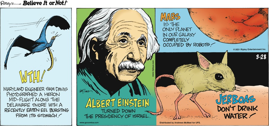 Ripley's Believe It or Not Comic Strip for March 28, 2021