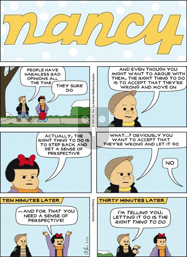 Nancy on Sunday February 7, 2021 Comic Strip