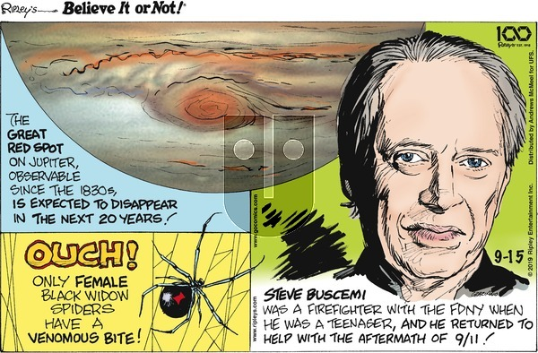 Ripley's Believe It or Not on Sunday September 15, 2019 Comic Strip