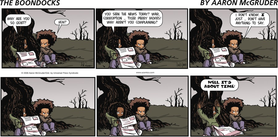 The Boondocks Comic Strip for March 26, 2006