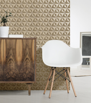 Wood looks have been trending in Italian tile design, and this particular one from the Woodline collection from Unica takes the cross grain of plywood and lays it up to create another pattern, a strong dimensional graphic outlined in black.