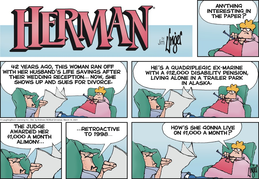 Herman Comic Strip for March 14, 2021