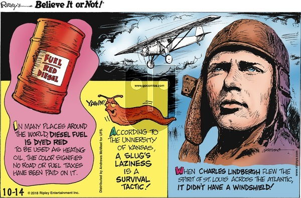 Ripley's Believe It or Not on Sunday October 14, 2018 Comic Strip