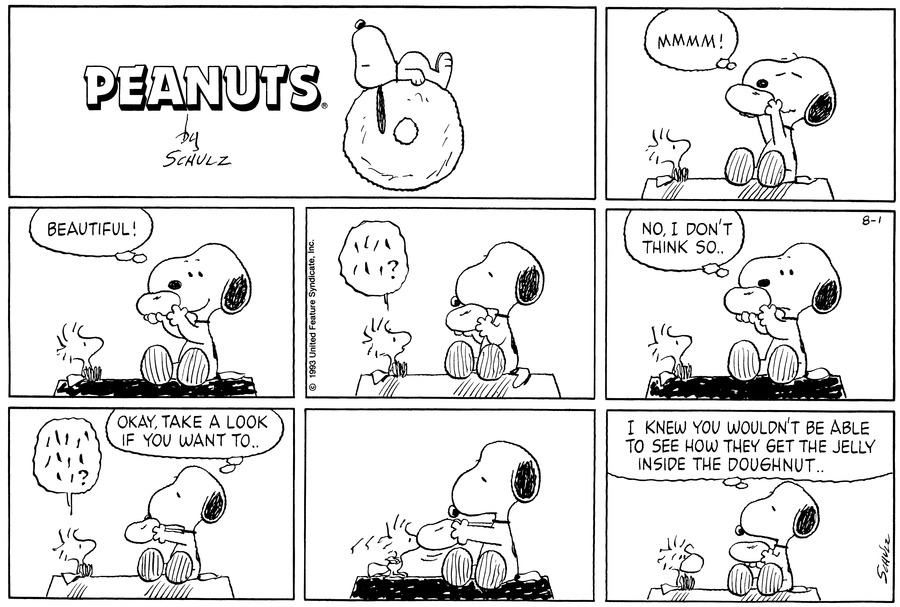 "Snoopy and Woodstock sit atop Snoopy's dog house. Snoopy sniffs a doughnut as Woodstock looks on.<BR><BR> Snoopy thinks, ""Beautiful!""<BR><BR> Woodstock asks a question.<BR><BR> Snoopy looks at the doughnut and answers, ""No, I don't think so.""<BR><BR> Woodstock ask anothe rquestion. Snoopy offers the pastry and says, ""Okay. Take a look if you want to""<BR><BR> Woodstock inspects the doughnut.<BR><BR> Woodstock gets doughnut on his face. Snoopy says, ""I knew you wouldn't be able to see how they get the jelly inside the doughnut.<BR><BR>"