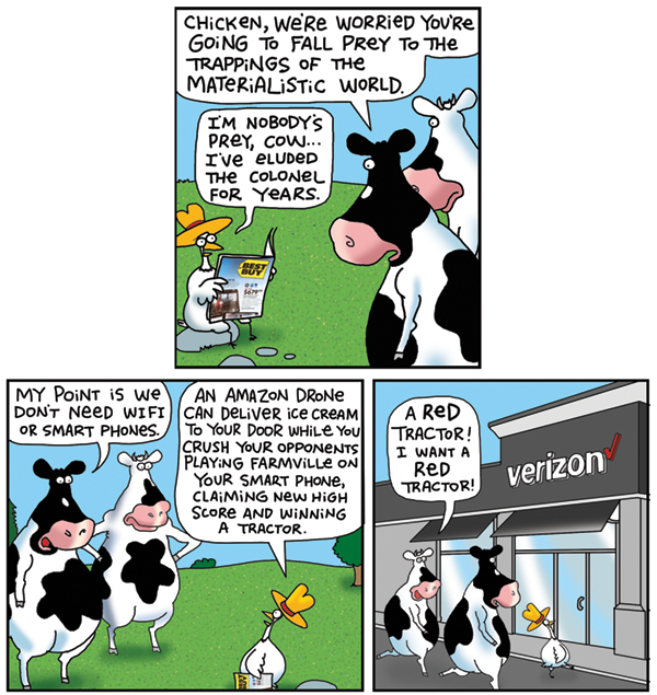 2 Cows and a Chicken for Mar 13, 2018 Comic Strip