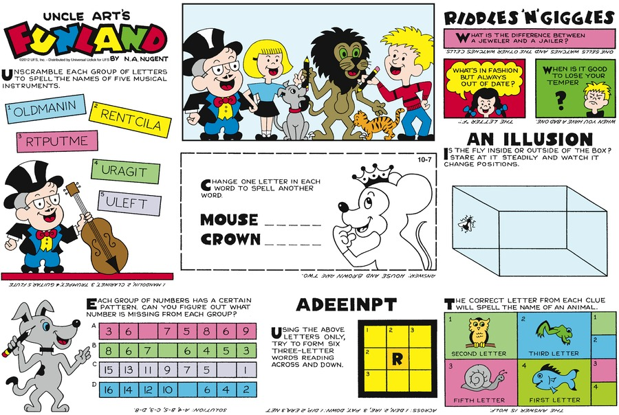 Uncle Art's Funland for Oct 7, 2012 Comic Strip