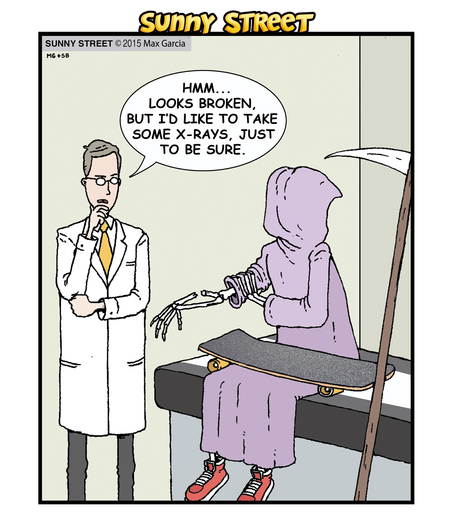 Doctor: Hmm... looks broken, but I'd like to take some x-rays, just to be sure.