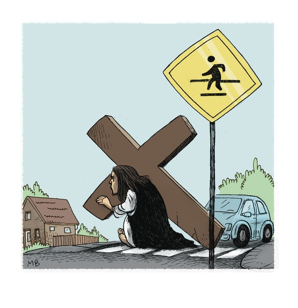 Jesus at Crosswalk