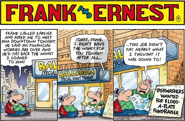 Frank and Ernest on Sunday January 20, 2013 Comic Strip