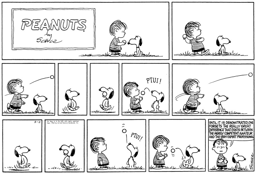 Peanuts Comic Strip for March 11, 1962