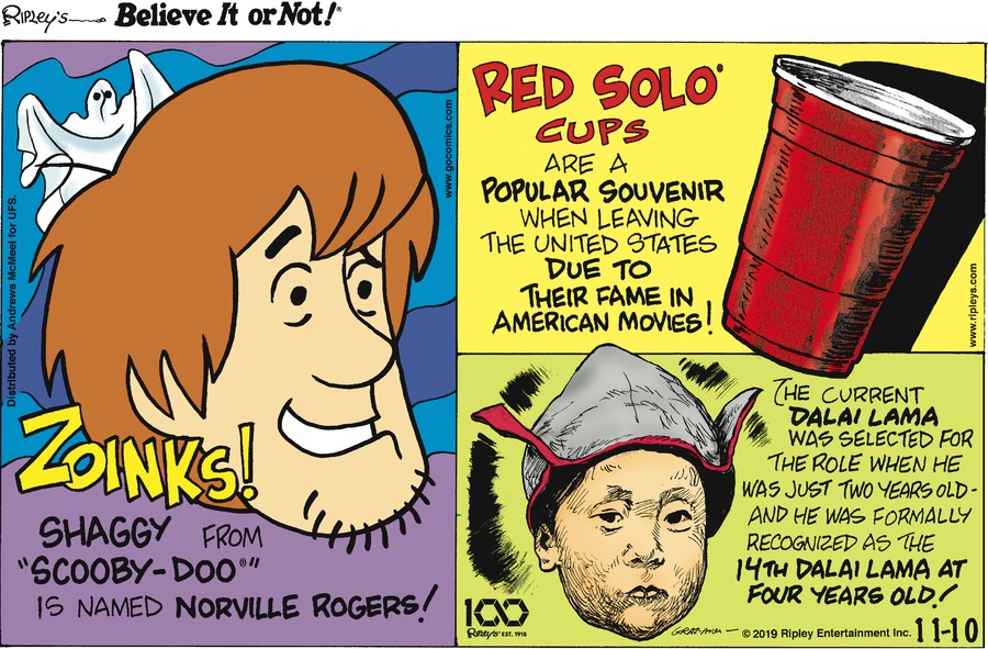 Ripley's Believe It or Not Comic Strip for November 10, 2019